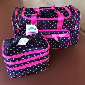 Black with pink polka dots 2 pc over night set